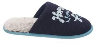 Dearfoams Women's Novelty Pile Scuff with Eye Mask Slippers