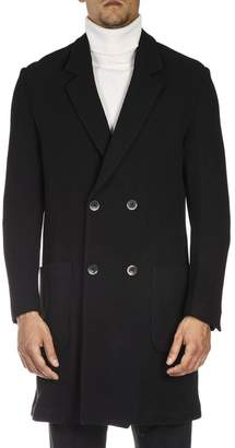 Low Brand Black Midi Double Breasted Wool Coat