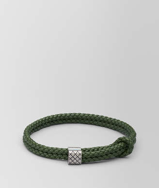 Bottega Veneta FOREST LEATHER/OXIDIZED SILVER BRACELET