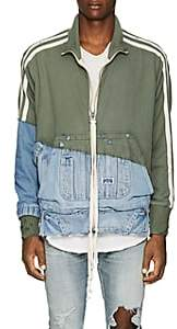 Greg Lauren Men's Cotton Terry & Denim Track Jacket - Olive