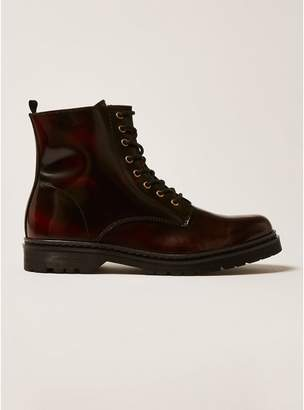 Topman Mens Red Burgundy Leather Forge Lace Boots