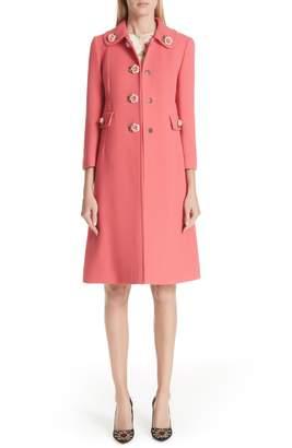 Dolce & Gabbana Rose Button Wool Coat
