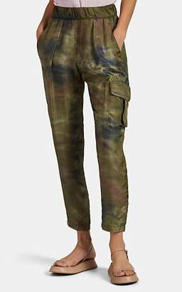 Raquel Allegra Women's Tie-Dyed-Camouflage Silk Cargo Pants - Green