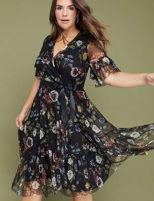 Lane Bryant Floral Mesh Faux Wrap Midi Dress