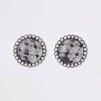River Island Grey lace covered gem stone stud earrings
