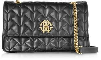 Roberto Cavalli Black Quilted Leather Shoulder Bag