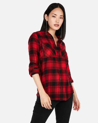 Express Red Plaid Flannel Two-Pocket Boyfriend Shirt