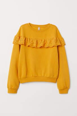 H&M Sweatshirt with Flounce - Yellow