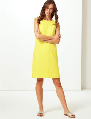 Marks and Spencer Linen Blend Round Neck Shift Dress