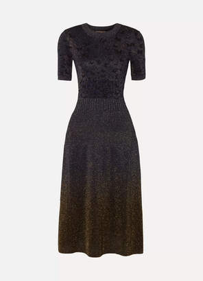 Bottega Veneta Metallic Jacquard Midi Dress - Midnight blue
