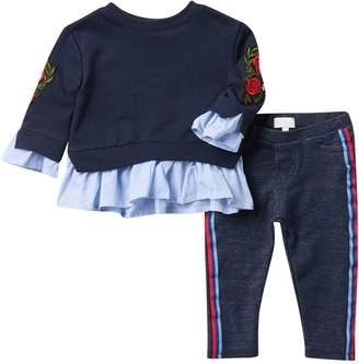 BCBGirls Twofer Sweatshirt & Denim Leggings Set (Baby Girls)
