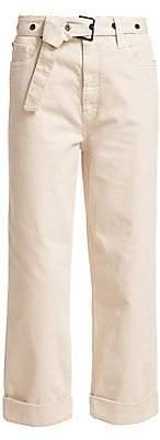 Brunello Cucinelli Women's Grommet Cuffed Belted Cargo Pants