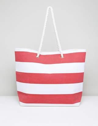 South Beach Red Stripe Beach Bag