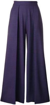Talbot Runhof micro-check wide-leg trousers