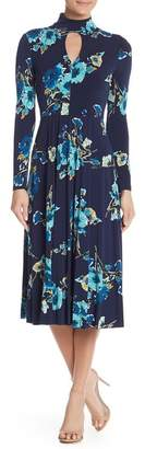 Maggy London Floral Print Front Cutout Dress