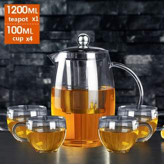 niumoon Glass Teapot,Heat-resistant Stainless Steel Filter Teapot Big Tea Leakage 1200ml Size 1-4 People Teaup Kithen Not Easy Drop Tea