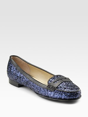Glitter-Covered Leather Loafers