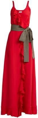 RACIL Geisha wrap-front ruffle-trimmed silk dress