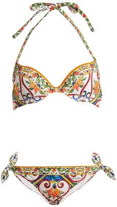 Dolce & Gabbana Majolica-print balconette bikini