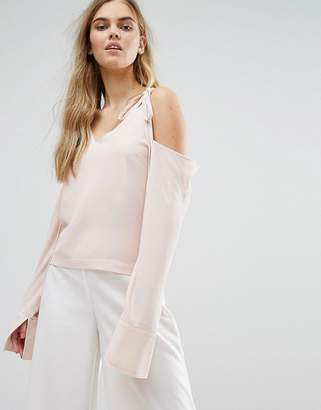 House Of Sunny Cold Shoulder Top With Tie Details