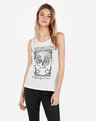Express Chasing Love Skull Graphic Crew Neck Muscle Tank