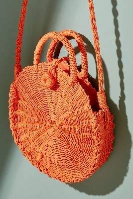 Anthropologie Myskia Straw Crossbody Bag
