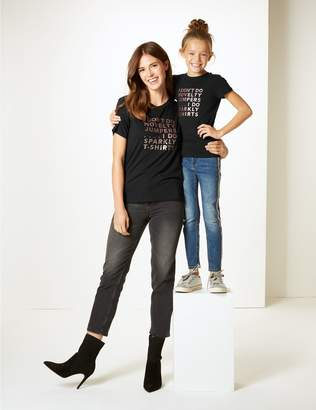 Marks and Spencer Mini Me Slogan T-Shirt (3-16 Years)