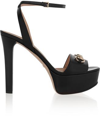 Gucci - Horsebit-detailed Leather Platform Sandals - Black $760 thestylecure.com