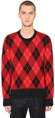 Ami Alexandre Mattiussi Argyle Jacquard Wool Blend Knit Sweater