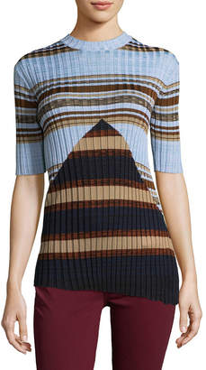 Celine Silk Striped Asymmetrical Sweater