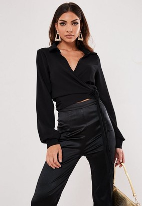Missguided Black Wrap Over Tie Side Blouse