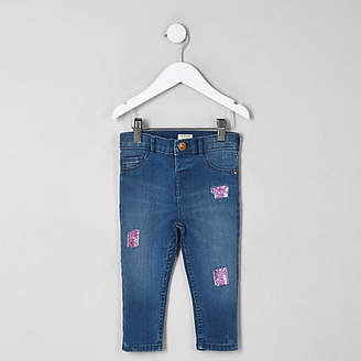 River Island Mini girls blue Amelie sequin patched jeans