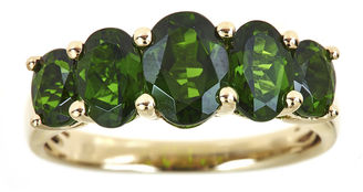 FINE JEWELRY LIMITED QUANTITIES Genuine Chrome Diopside 5-Stone Yellow Gold Ring $1,140 thestylecure.com