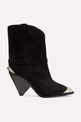 Isabel Marant Lamsy Embellished Suede Ankle Boots - Black