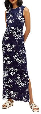Warehouse Monotropical Pattern Maxi Dress, Navy