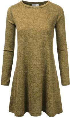 JJ Perfection Women's Loose Fit Long Sleeve Swing Tunic T-Shirt Dress MUSTARD S