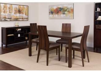 Flash Furniture Elston 5 Piece Espresso Wood Dining Table Set with Wide Slat Back Wood Dining Chairs - Padded Seats