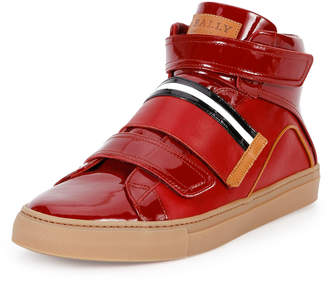 Bally Herick Leather High-Top Sneaker, Red