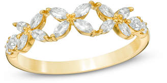 Zales 3/4 CT. T.W. Diamond Flower Wedding Band in 14K Gold (H/SI2)
