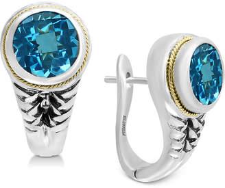 Effy Blue Topaz Hoop Earrings (3-3/4 ct. t.w.) in Sterling Silver & 18k Gold