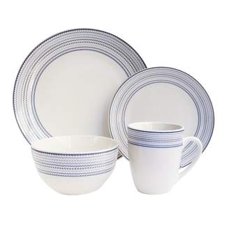 Jay Import White/Blue Cadence Dinnerware 16-Piece Set