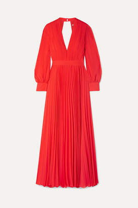 Alice + Olivia Alice Olivia - Cheney Cutout Pleated Georgette Maxi Dress - Red