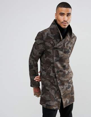 Religion Coat With Asymmetric Buttons In Camo