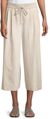 Lafayette 148 New York Reade Striped Wide-Leg Crop Pants