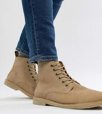 Asos Design DESIGN Wide Fit desert boots in stone suede with leather detail