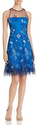 Elie Tahari Litsa Embroidered Mesh Dress