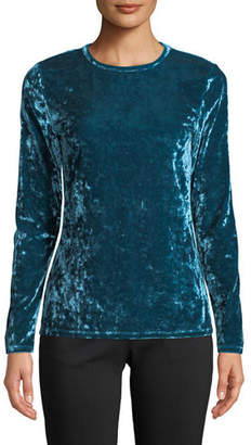 MICHAEL Michael Kors Crewneck Long-Sleeve Crushed Velvet Top