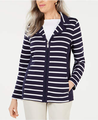 Karen Scott Plus Size Casual Striped Zip-Front Jacket, Created for Macy's
