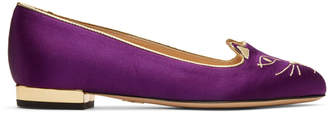 Charlotte Olympia SSENSE Exclusive Purple Satin Kitty Slippers