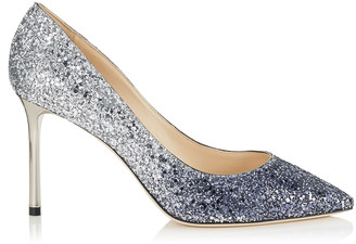 Jimmy Choo ROMY 85 Navy and Silver Coarse Glitter Degrade Pointy Toe Pumps